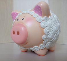 Items similar to Super cute Hand-painted, hand-crafted lamb dress up piggy bank on Etsy This Little Piggy, Little Pigs, Ceramica Exterior, Lamb Costume, Personalized Piggy Bank, Pig Crafts, Miss Piggy, Biscuit, Money Box