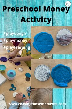 What a fun way to study money while playing with play dough! Your preschooler will love making these coin play dough impressions as much as mine did! Great for year olds! Tactile Activities, Money Activities, Money Games, Preschool Learning Activities, Classroom Activities, Montessori Math, Preschool Math, Educational Activities, Preschool Monthly Themes