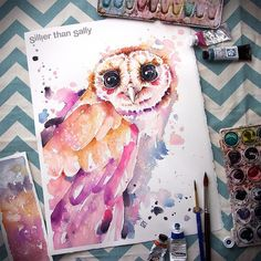 """Gefällt 859 Mal, 13 Kommentare - Artist // Sally Walsh (@sillierthansally) auf Instagram: """"Day 4/20: """"Owl Be Alright"""" I think I might just want to keep this one! His Eyes?! This is an…"""" Penguin Watercolor, Butterfly Watercolor, Watercolor And Ink, Watercolor Paintings, Instagram Artist, Watercolours, His Eyes, Sweet Dreams, Sally"""
