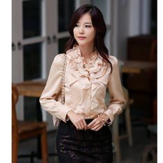 $17.31 #OL #Style #Ruffle Long Sleeve Solid #Woman #Blouse