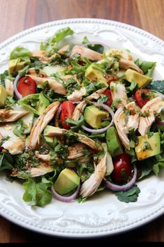 Chicken and vegetable salad with balsamic cilantro dressing.mixed greens, avocado, tomato, cucumber, onions and balsamic cilantro dressing - a great way to use chicken leftovers for a delicious lunch salad. Healthy Dinner Ideas for Delicious Night & Get A Homemade Chicken Salads, Chicken Recipes, Paleo Recipes, Cooking Recipes, Yummy Recipes, Cilantro Dressing, Clean Eating, Healthy Eating, Healthy Salads