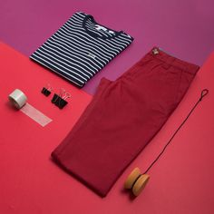 Make an elegant start to the new season with a blue striped t-shirt or red trousers.   #lyoness