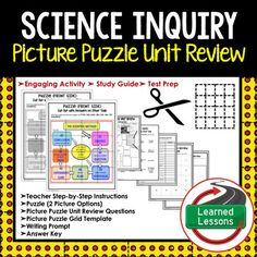 Science Inquiry Picture Puzzle Unit Review, Study Guide, Test Prep-Earth ScienceThis Picture Puzzle Unit Review is a new and engaging way to create a quick reference study guide, conduct test prep, or just give students an opportunity to review key concepts throughout a unit in an engaging manner.