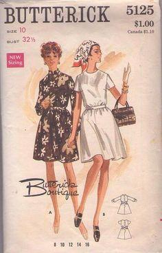 MOMSPatterns Vintage Sewing Patterns - Butterick 5125 Vintage 60's Sewing Pattern MARVELOUS Mod Mad Men Back Buttoned Flared Skirt Cocktail Party Dress, Great for Prints