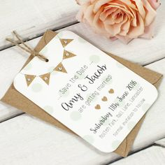 Burlap Bunting And Polka Dots Gem Save The Date