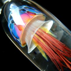 Jellyfish Pendant Rainbow Red Weelainy by LainyLampwork on Etsy