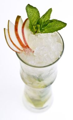 Mint Apple Swizzle - Hard Cider, Apple Brandy, Lime, Angostura Bitters, Mint, Apple