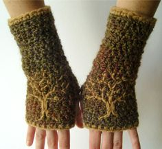 Arm Warmers with Embroidered Tree Design - Olive Green, Red, Blues  - Made to Order