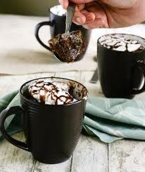 Magnetronbrownie: 20 g bloem 15 g suiker (vanillesuiker mogelijk) 5 g cacao ? eetl. water (5 g zonnebloemolie (halve eetlepel)) snufje zout Mix goed en zet hem voor 1 min of iets langer in de magnetron op de hoogste stand. geeft 149 (194) calorieën