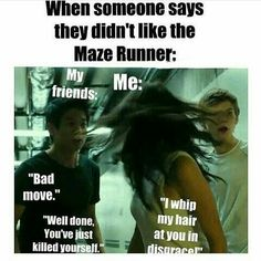 "Well my brother doesn't like the maze runner and i've feed him to the grievers 😇 And can we talk about TBS' face. He is like ""wtf how can you dislike tmr? Maze Runner Funny, Maze Runner The Scorch, Maze Runner Thomas, Maze Runner Trilogy, Maze Runner Series, Thomas Brodie Sangster, Newt Thomas, Fangirl Problems, The Scorch Trials"