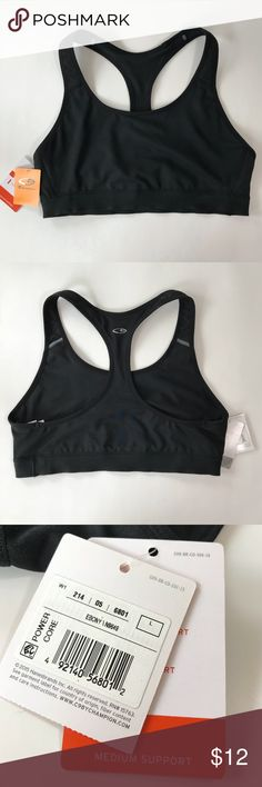 "CHAMPION POWER CORE SPORTS BRA Black NEW WITH TAGS CHAMPION POWER CORE SPORTS BRA  Black Medium Support  Band Measures 27"" UNSTRETCHED   NEW WITH TAGS   Size: LARGE   Thanks for checking out my Closet! Champion Intimates & Sleepwear Bras"