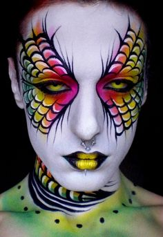 I love super colorful, goth inspired make-up! Art Visage, Extreme Makeup, Fantasy Make Up, Fantasy Art, Rainbow Makeup, Theatrical Makeup, Make Up Art, Fx Makeup, Beauty Makeup