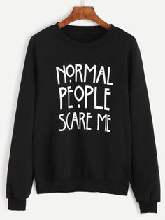 Sweatshirt with letter print - black