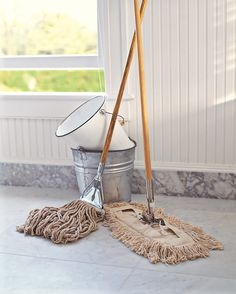 A particularly dirty mop can leave a sour smell on your floors. Rinse your mop after each use in a bucket of clean, hot water. Hang the mop to dry in a well-ventilated area. Alternatively, you can try clamping an old towel onto a sponge mop head. Then, when it's time to clean, you can just detach the towel and throw it in the washing machine.
