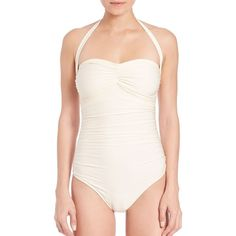 Shan One-Piece Glamour Swimsuit ($245) ❤ liked on Polyvore featuring swimwear, one-piece swimsuits, apparel & accessories, chantilly, one piece swim suit, neck ties, ruched one piece swimsuit, retro bathing suits and retro one piece swimsuits