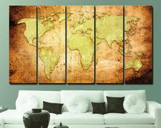 Large Canvas Prints Modern Wall Art for Home & by WALLARTSDECOR Canvas Wall Decor, Wall Art Decor, Canvas Art, Unique Wall Art, Modern Wall Art, Sunset Canvas, World Map Canvas, Large Canvas Prints, City Art