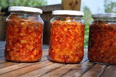 Zacusca de fasole pastai | Retete culinare cu Laura Sava Canning Pickles, Romanian Food, Yummy Food, Tasty, Preserves, Food And Drink, Jar, Drinks, Meal Ideas