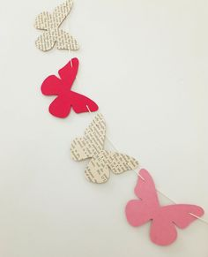 Bunting, butterfly bunting, paper garland, pink butterflies, butterfly banner, garland, eco-friendly, nursery decor