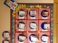 This teacher placed her students' sandwich book report projects on plates and red and white place mats for this charming bulletin board display.