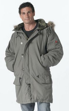 Vintage Military Parkas N-3b Parka olive drab $102.13 100% cotton. heavyweight poly fiberfill. removable hood with fur collar. Military Coats. http://www.armynavyshop.com/prods/rc9467.html