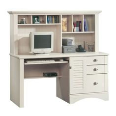 sauder harbor view computer desk with hutch antiqued in white. tips shop sauder harbor view antiqued white lshaped desk at Computer Desks For Home, Computer Armoire, Computer Desk With Hutch, Der Computer, Desk Hutch, Home Office Desks, Home Office Furniture, Furniture Decor, White Furniture