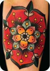 Flower by Xam  #InkedMagazine  Love the colors most