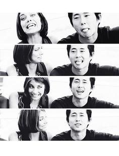 Lauren Cohan and Steven Yeun -  Maggie & Glenn  on  The Walking Dead...