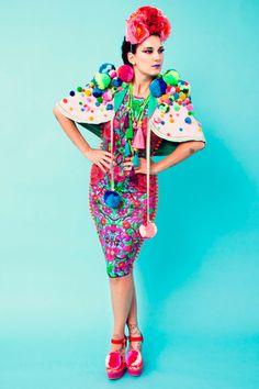 L.O.M. Louise O'Mahony fashion design Brighton Folklorico, Frida Kahlo tassels fringe pom poms Mexican Asian European Folklore