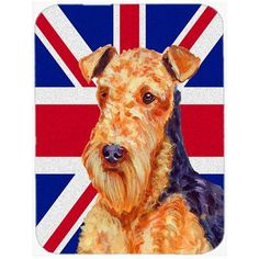 Caroline's Treasures Union Jack Airedale with English British Flag Glass Cutting Board