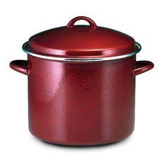 Red Stock Pot 12 Quart Covered Paula Deen Kitchen Enamel On Steel Cookware Soups #PaulaDeen