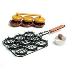 Deluxe Mini-Hamburger Slider Set  Mini-burger press, grilling basket and bun cutter to make hamburger sliders at home!