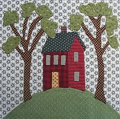 Small Square Quilting Patterns 18 Ideas For 2019 House Quilt Patterns, House Quilt Block, House Quilts, Fabric Houses, Quilt Block Patterns, Applique Patterns, Applique Quilts, Quilt Blocks, Small Quilts