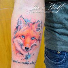 Javi wolf ink (Mexico) My dream tattoo Wolf Tattoos, Forearm Tattoos, Animal Tattoos, Tatoos, Fox Tattoo Design, Tattoo Designs, Unique Tattoos, Beautiful Tattoos, Watercolor Fox Tattoos