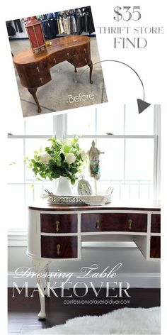 Antique Dressing table makeover from confessionsofaserialdiyer.com