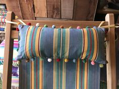 Make your deckchair more comfy with our Deckchair Headrest Cushions. Tie on pompom trimmed pillows for deck chairs. Sky blue and jade green stripes with narrower pale green, gold and red UK Patio Furniture Redo, Hula Hoop, Jade Green, Canvas Fabric, Green Stripes, Cushions, Sky, Throw Pillows, Make It Yourself