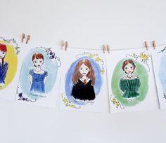 Literary Heroine Banner, nursery banner, nursery wall art, Anne of Green Gables, Pride and Prejudice, Literary nursery, literary prints