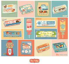 Made up Retro styled candy © Clare Phillips 2013.
