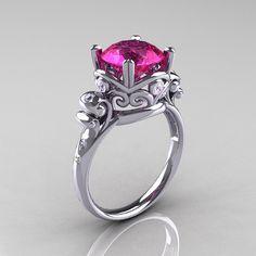 Modern+Vintage+14K+White+Gold+25+Carat+Pink+Sapphire+by+artmasters,+$1,249.00