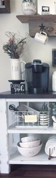 LOVE this coffee bar! Kitchen Decor, Kitchen Design, Coffee Snobs, Coffee Corner, Kitchen Pictures, Coffee Lover Gifts, Barn Wood, Cool Kitchens, Diy Home Decor