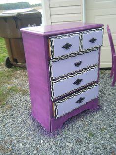 Lilac purple vintage dresser buffet bedroom furniture for Bedroom bureau knobs