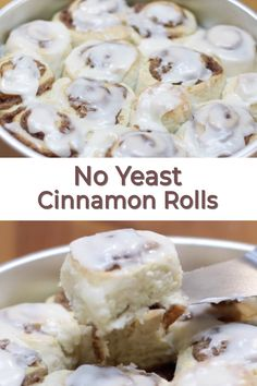 These homemade cinnamon rolls without yeast are awesome! They only take 1 hour to make start to finish. They are flaky and soft and oh so delicious. You only need simple ingredients like flour, sugar,. Cinnamon Rolls Without Yeast, Homemade Bread Without Yeast, Quick Cinnamon Rolls, Apple Cinnamon, Donut Recipes, Dessert Recipes, Desserts, Bread Recipes, Brunch Recipes