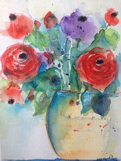Aquarell Blumenstrauß Blumen Kunst Malerei abstrackt Watercolour Flowers