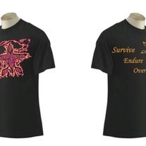 "Survive, Endure, Overcome T-Shirt (Unisex)  $20.00  Front: Edged G.C. (Orange, Pink)  Back: ""Survive, Endure, Overcome"" (Orange)  G.C. (Orange)"
