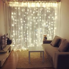 """Universe of goods - Buy 300 LED Curtain Christmas Wedding Holiday String Light LED Decoration Fairy Lamp bulb Garland Party Garden Curtain Decor"""" for only USD. Living Room Lighting, Living Room Decor, Bedroom Decor, Garden Bedroom, Girls Bedroom, Living Rooms, Bedroom Ideas, Deco Led, Appartement Design"""
