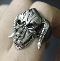 Size 7 13 Cool Silver Goat Skull Ring 316L Stainless Steel Man Heavy Bull Head Skull Ring-in Rings from Jewelry & Accessories on Aliexpress.com | Alibaba Group