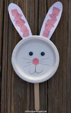 Bunny Paper Plate Puppet Craft for Kids! Easter activity for preschool and kindergarten