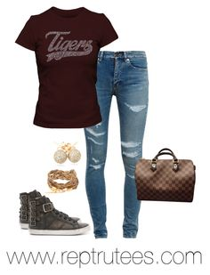 """""""Glitter Tiger Tee"""" by ray-lisa on Polyvore featuring Yves Saint Laurent, Frye, Louis Vuitton and Loushelou"""