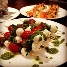bocconcini, tomato and basil on sticks
