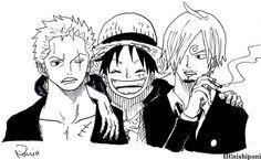 Zoro, Luffy et Sanji One Piece Anime, One Piece Luffy, Zoro, One Piece Series, One Piece World, One Piece English, Manga Anime, Manhwa, Anime Pirate