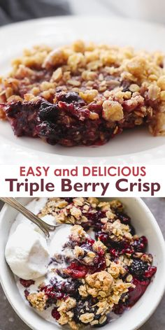 The easiest Triple Berry Crisp made with frozen raspberries, blueberries and blackberries for a juicy berry filling nestled under a crispy oat topping. # Food and Drink dinner videos Triple Berry Crisp Baking Recipes, Vegan Recipes, Ramikin Recipes, Recipies, Desserts Sains, Healthy Desserts, Easy Fruit Desserts, Healthy Food, Easy Summer Desserts